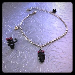 Betsey Johnson Skull Anklet and Tie Ring Set